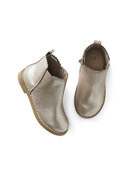 Gap Baby Metallic Scallop Chelsea Boots Silver in 2019