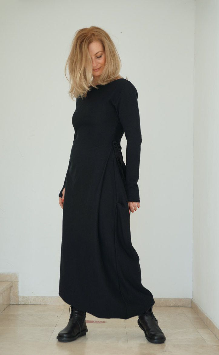 Awesome maxi dresses for women black long sleeve dresslong sleeve