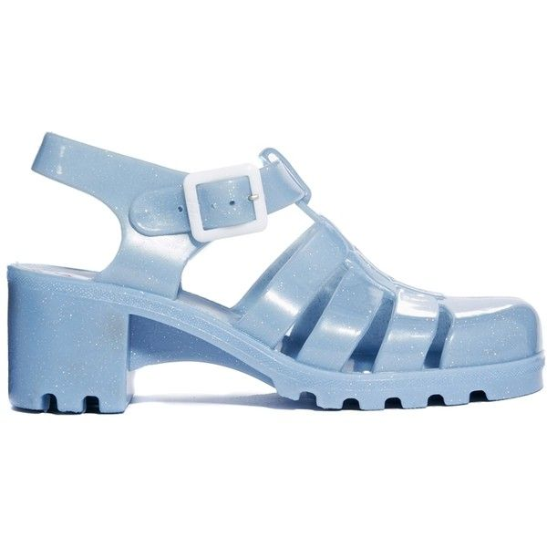 Juju Babe Pearl Blue Glitter Exclusive Heeled Sandals found on Polyvore
