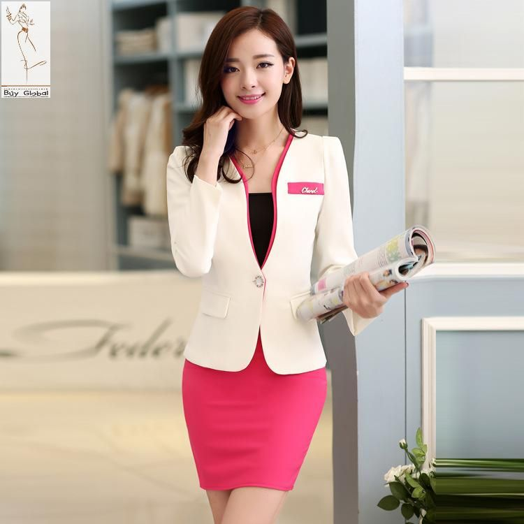 pas cher 2015 femmes v tements d 39 t jupe costume d 39 affaires bureau uniforme femme blazer et. Black Bedroom Furniture Sets. Home Design Ideas