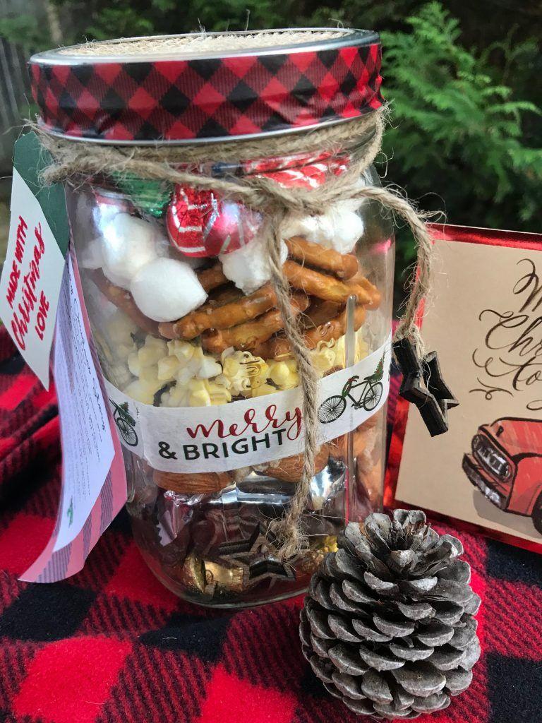 Nativity Christmas Story Trail Mix Mason Jar Gift Free Printable Tag With Images Mason Jar Gifts A Christmas Story Christian Christmas Gift