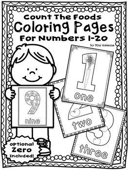 Students Count The Food Items Inside Each Number With This Set Of Numbers 1 20 Coloring Pages Identify Common Fruits Veggies And Produce