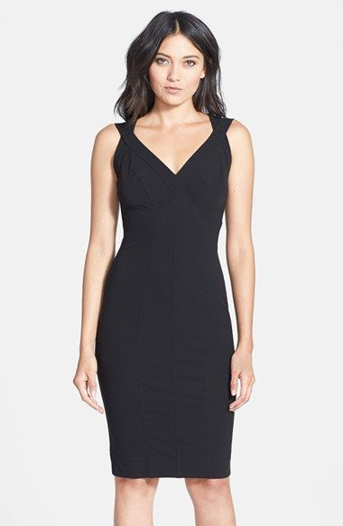 5409ae44a89 Nicole Miller Seamed V-Neck Jersey Body-Con Dress available at  Nordstrom