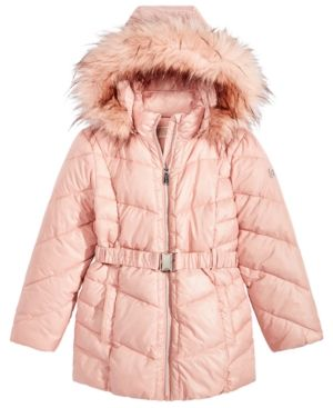 8433d58b696 Michael Michael Kors Big Girls Hooded Belted Stadium Jacket with Faux-Fur  Trim - Pink M (10 12)