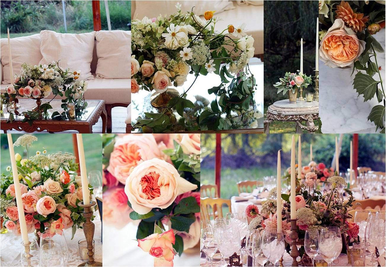 silver vintage containers, mint julep cups, wild and unique garden-y floral, tapers and those peachy-pinky tones