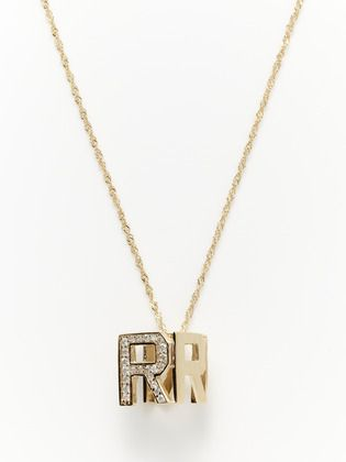 "Spell It Out: Chic Letter Jewelry - ""R"" Monogram Cube Necklace"