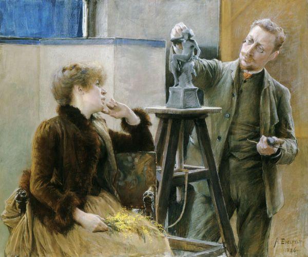 Kuvanveistäjä Ville Vallgren ja hänen puolisonsa taiteilija Antoinette Råström * 1886 | Pastel | 1160 x 1390 mm * Gothenburg Museum of Art, Gothenburg * Edelfelt, Albert | 1854-1905