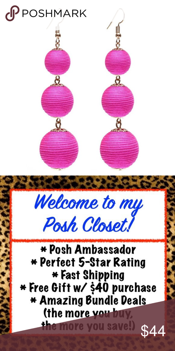 NWT [BAUBLEBAR] Hot Pink Statement Earring - Hot Pink & Gold