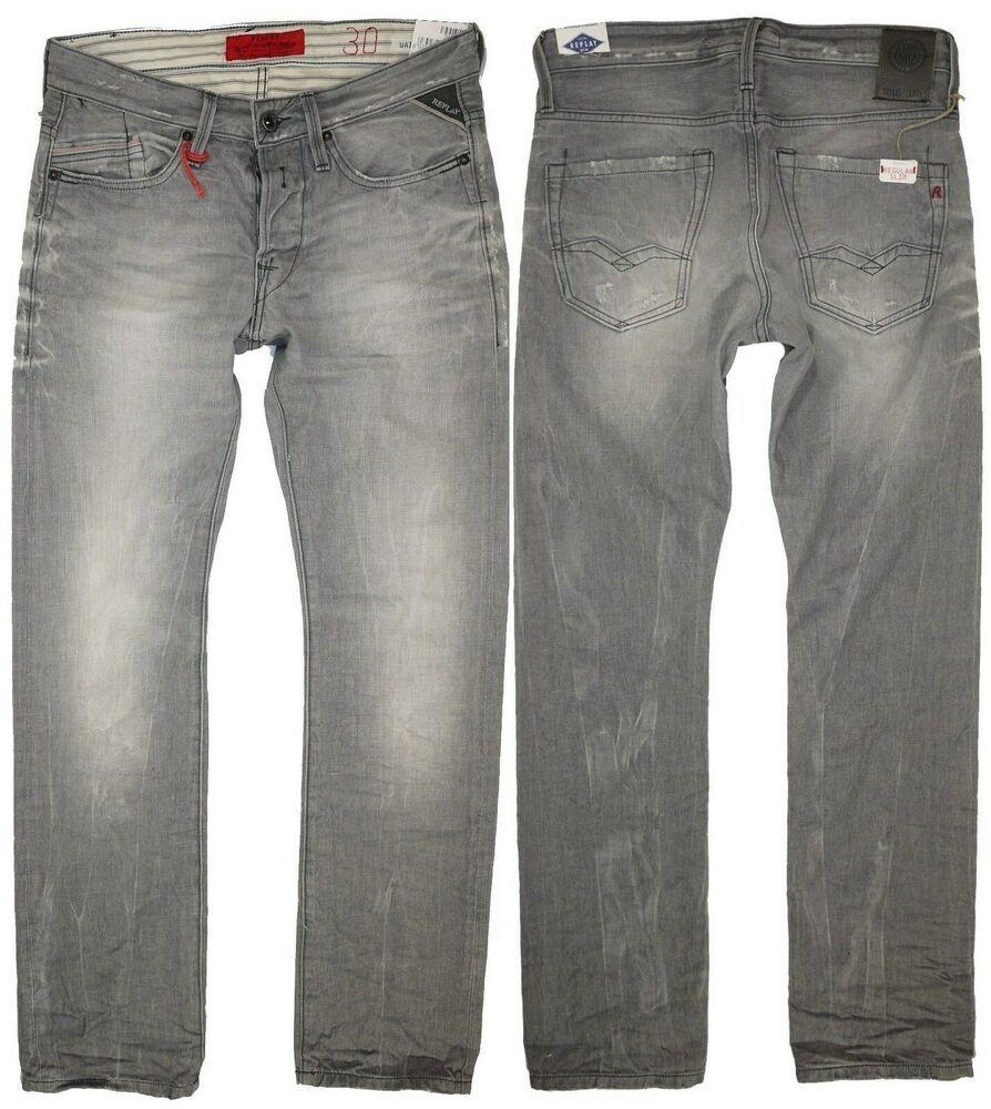 a36db68a674 Replay Mens Jeans W-30 L-34 Waitom Regular Slim Leg Grey Denim New ...