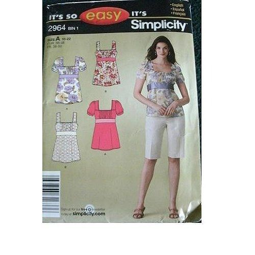 Amazon.com: MISSES TOPS SIZE 10-12-14-16-18-20-22 EASY SIMPLICITY PATTERN 2964: Arts, Crafts & Sewing