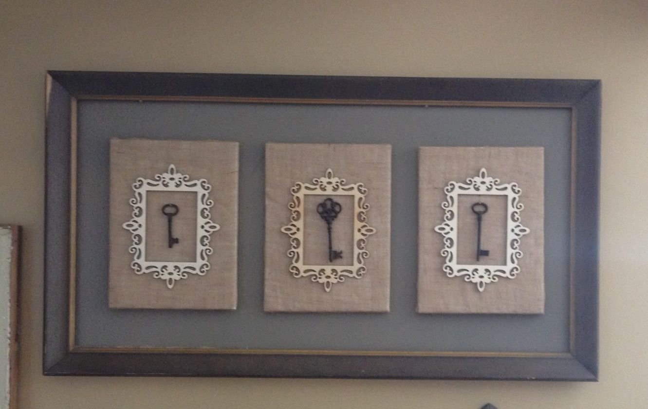 Unique art using empty frame, canvas boards covered in burlap and framed keys.