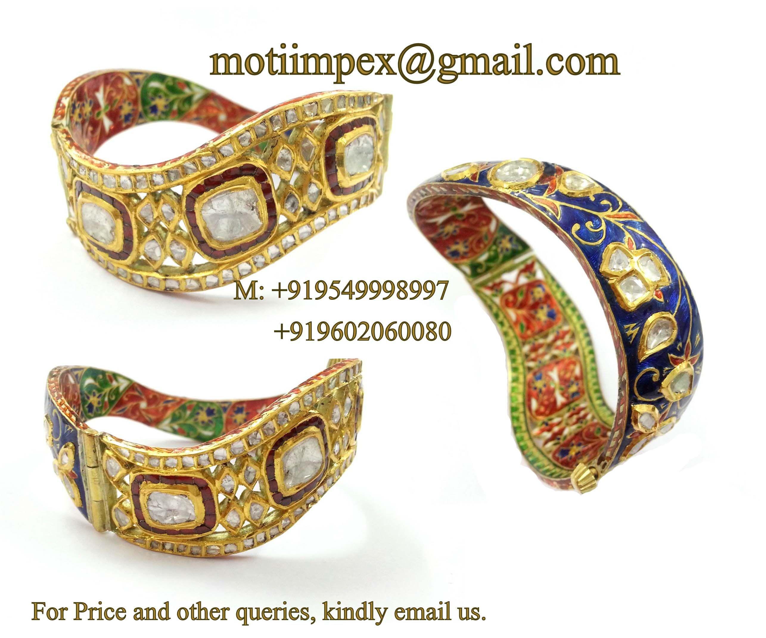 kundan meena jewellery bangles polki rubies in gold by bespoke