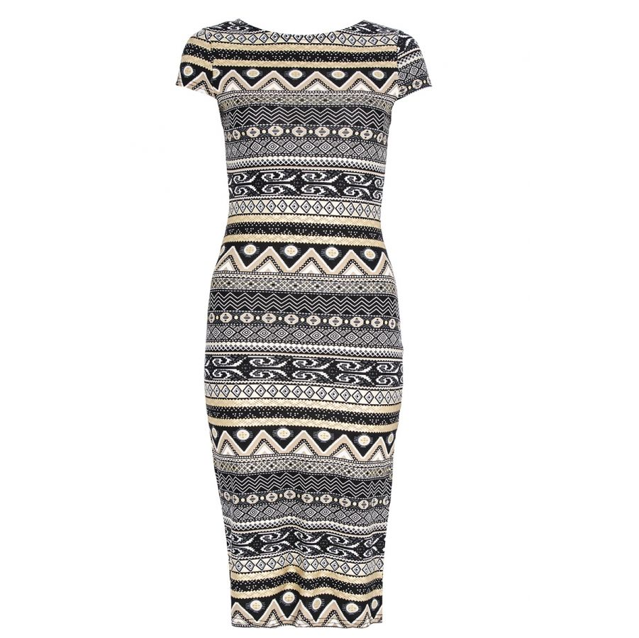 Black and gold foil aztec print midi dress quiz clothing bindyus