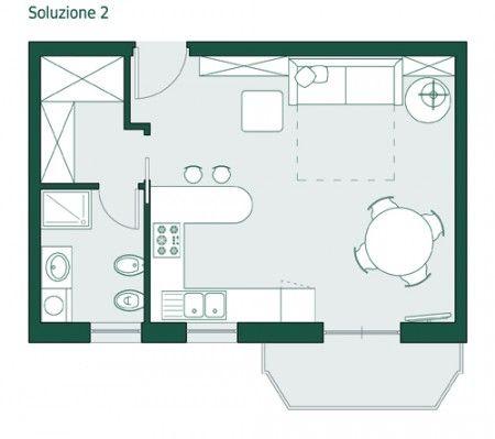 Risultati immagini per planimetria 25 mq open space con