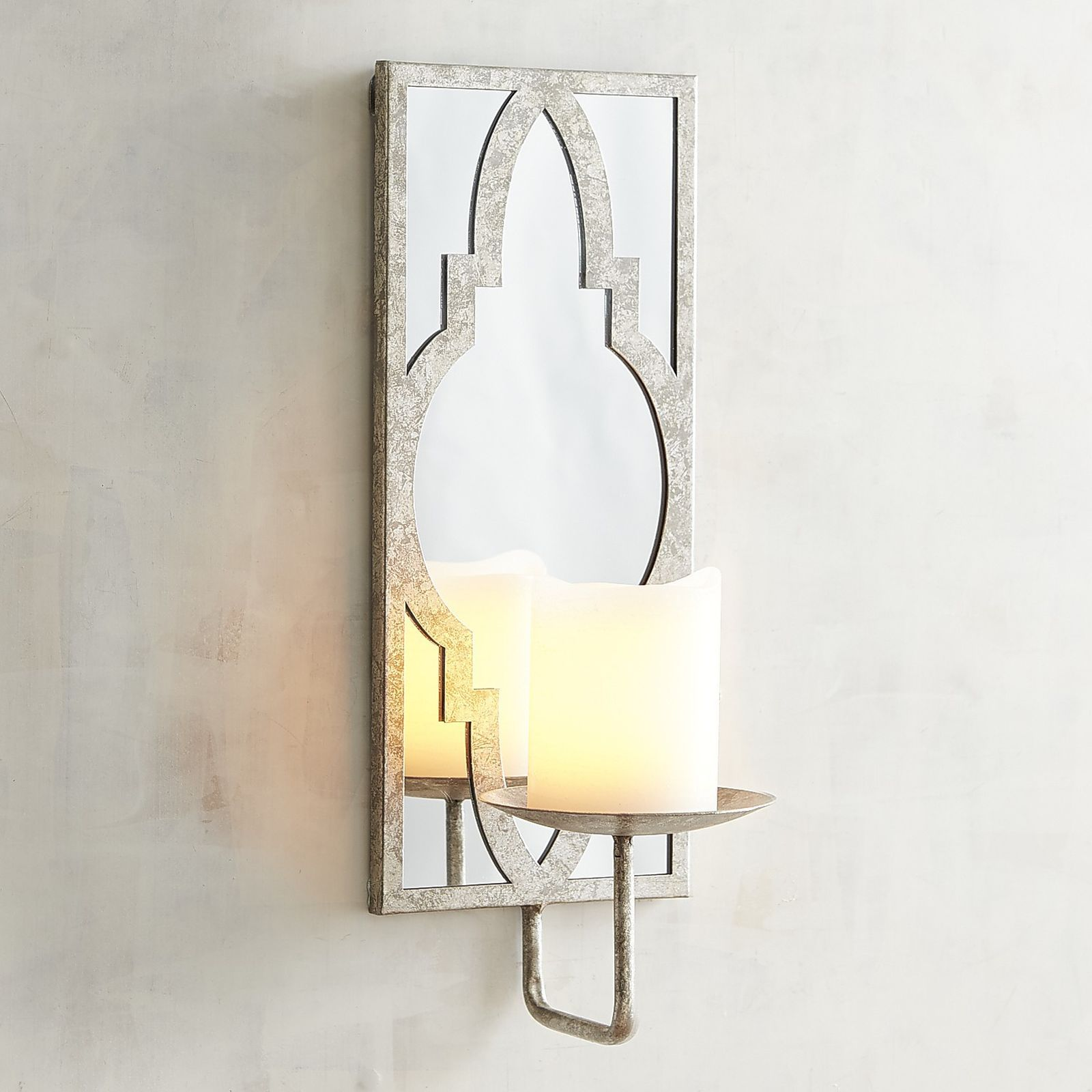 Silver Mirrored Candle Holder Wall Sconce | Wall candle ...