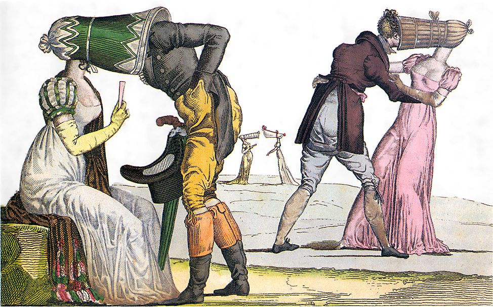 Invisibles-Tete-a-Tete-poke-bonnet-satire-1810s - Bannet – Wikipedia