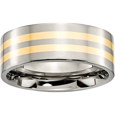 Box Titanium Grooved 14k Gold Inlay 6mm Brushed And Antiqued Band