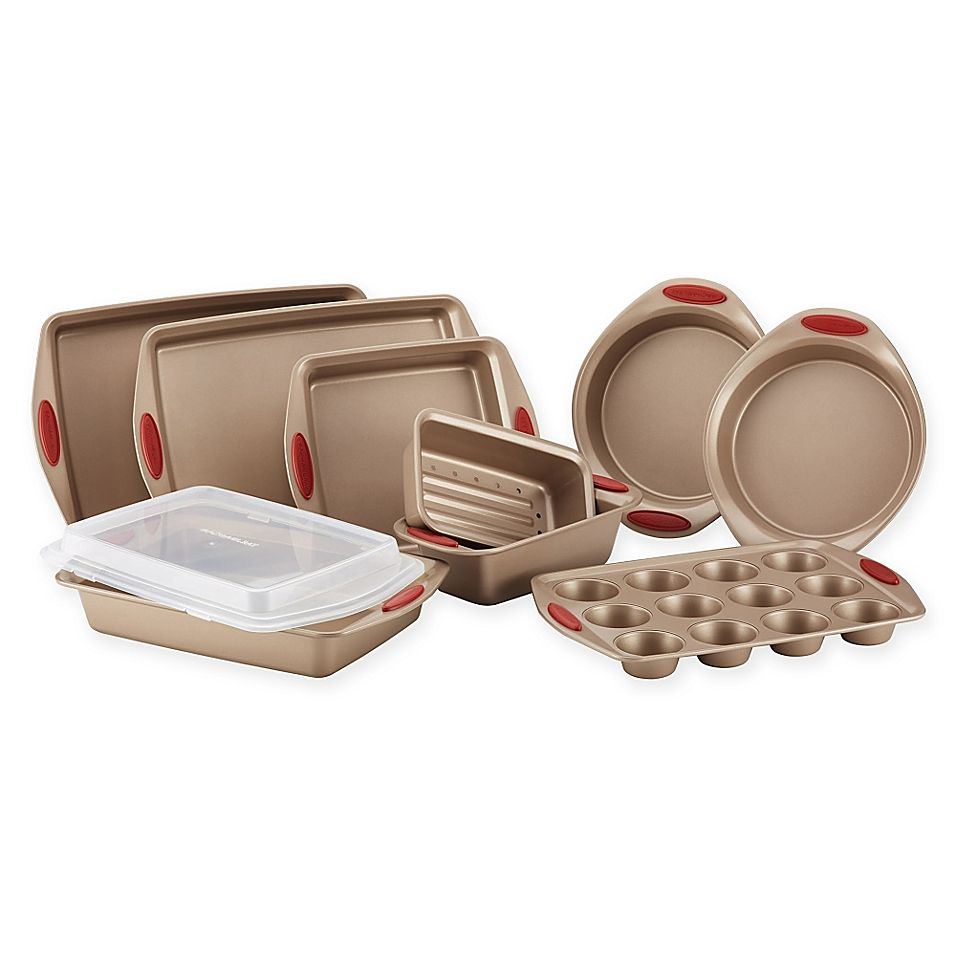 Rachael Ray Cucina Non Stick 10 Piece Bakeware Set In Brown Red