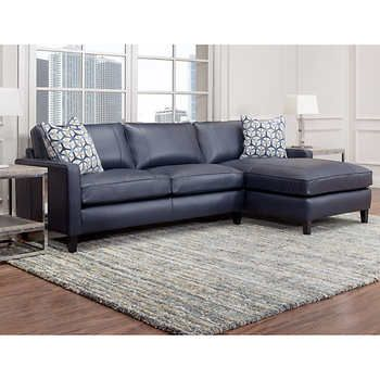 Griffith Top Grain Leather Sectional Navy Blue Leather Sofa