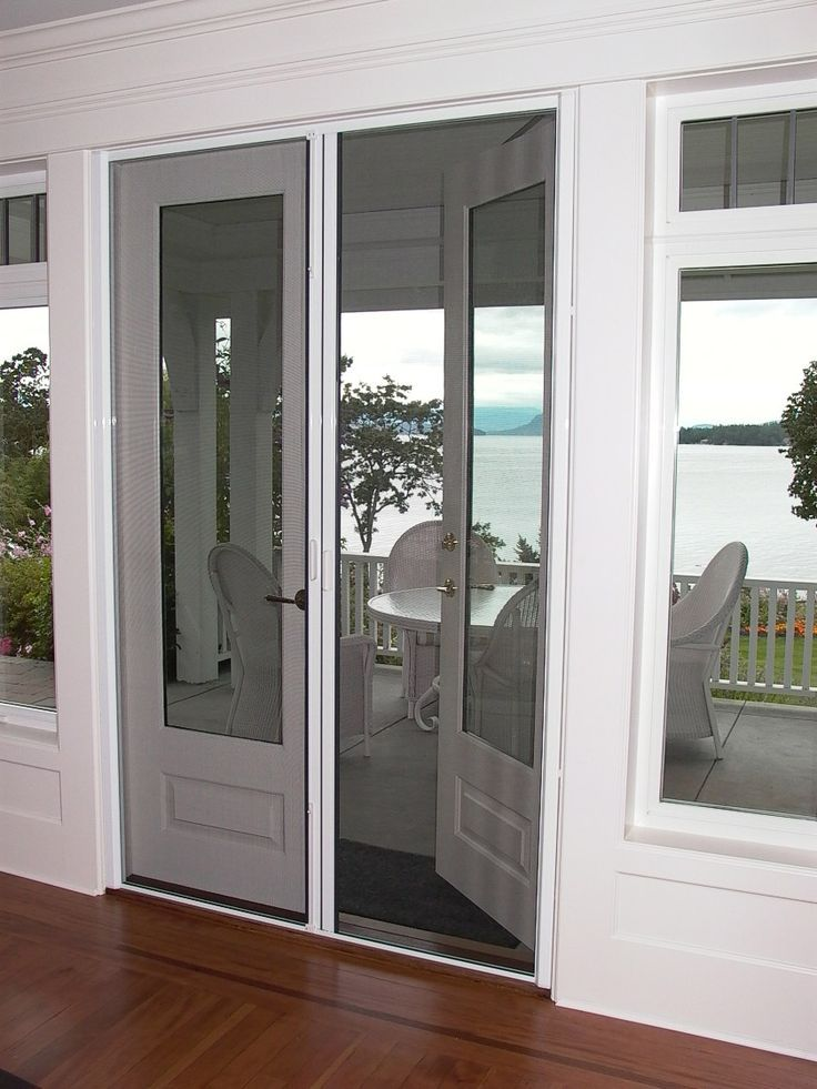 French doors with retractable screens french door for Retractable screen door for double french doors