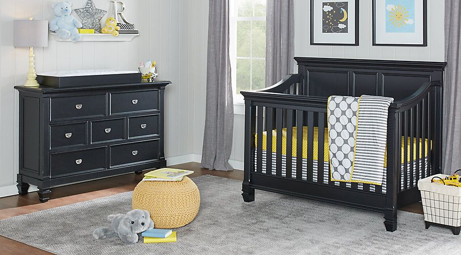 Belmar Black 4 Pc Nursery Nursery Room Sets Black Rooms To Go For A Boy Bedroom Furniture Stores Boys Bedroom Sets Kids Bedroom Furniture