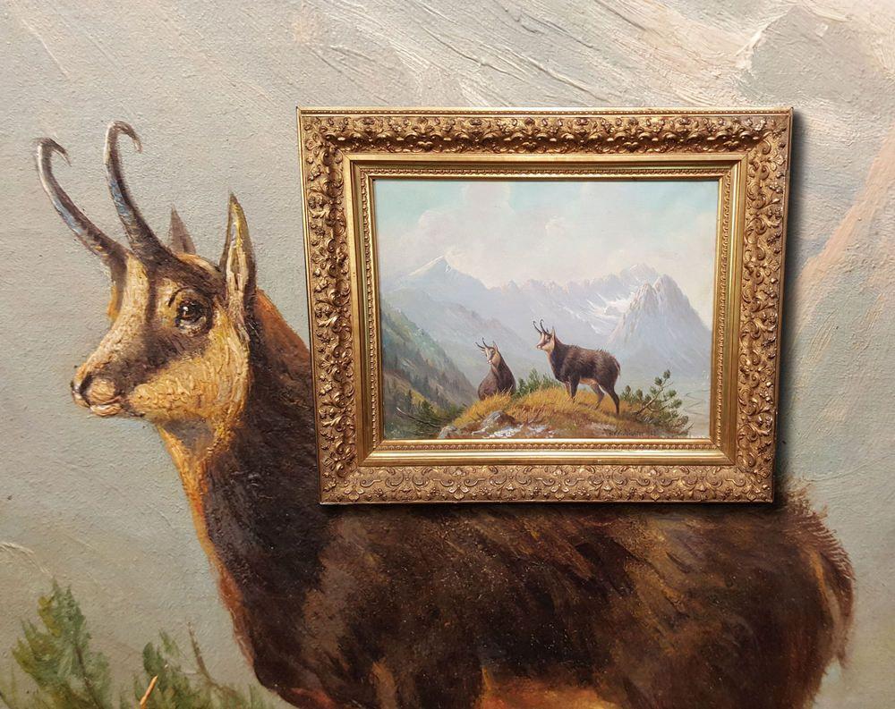 Wundervolles Alpines Antik Jagdgemalde Gamsen Gams Signiert Richter 1902 Elch Kunst Kunstlerisch Gemalde