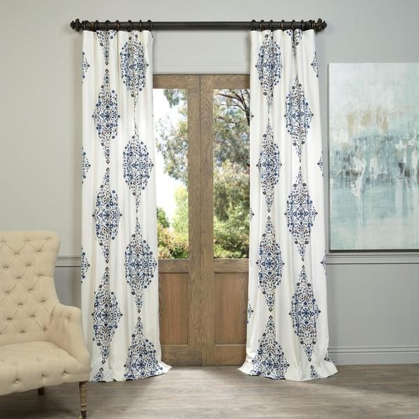 Exclusive Fabrics Kerala Blue Printed Cotton Twill Curtain Panel Rhpinterest: Floral Curtains For Living Room 2 Panels At Home Improvement Advice
