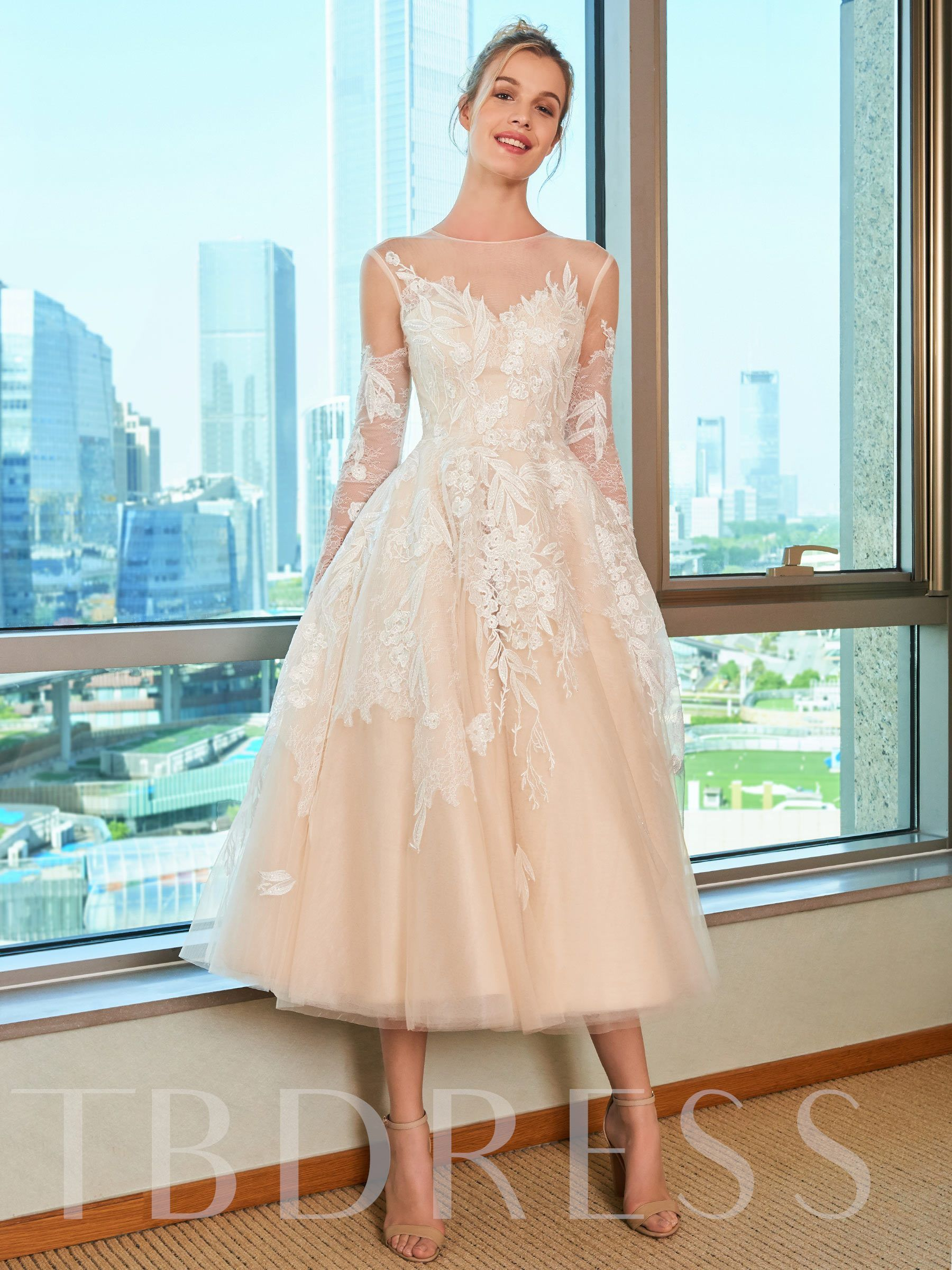 Lace TeaLength Beach Wedding Dress with Long Sleeve (With