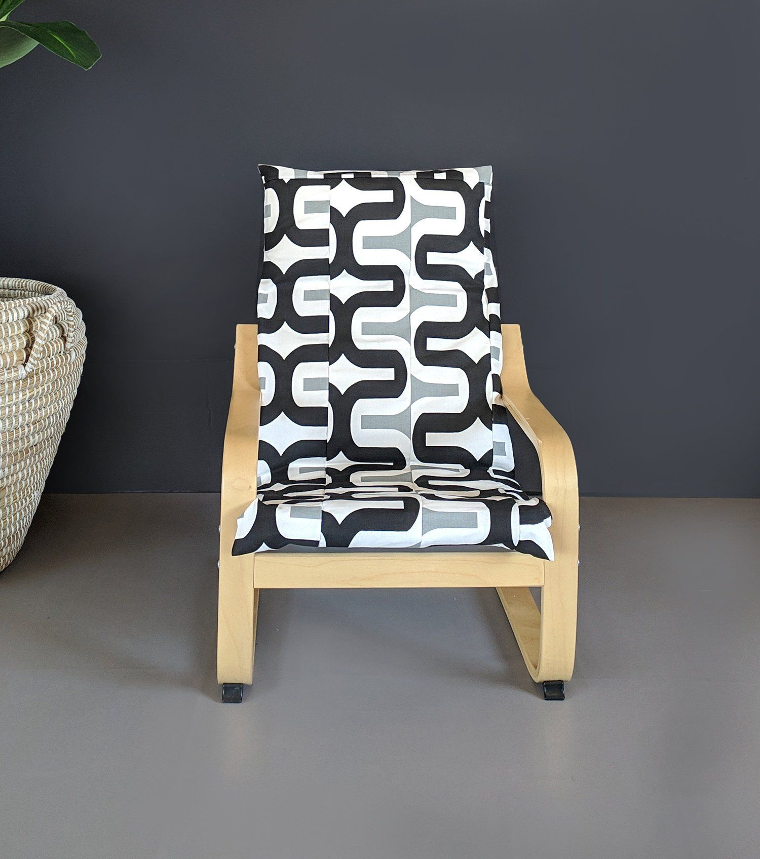 Black White IKEA KIDS POÄNG Cushion Slipcover Ikea chair