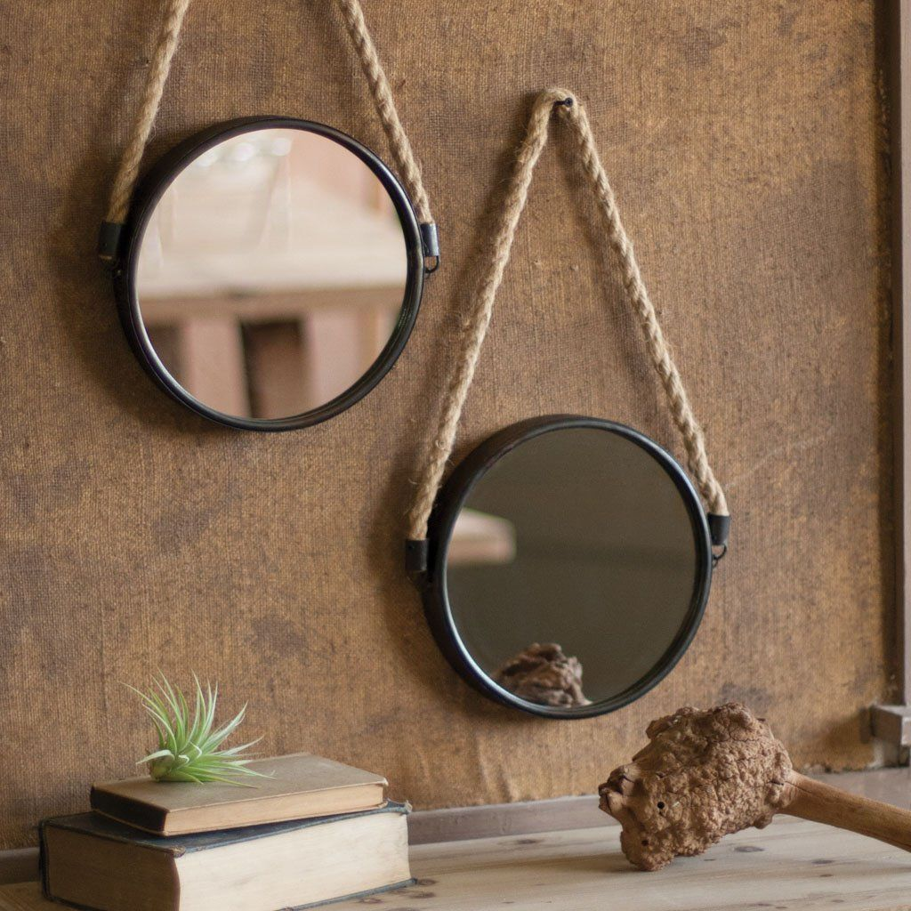 Its All About The Textures Black Metal Framed Round Mirror