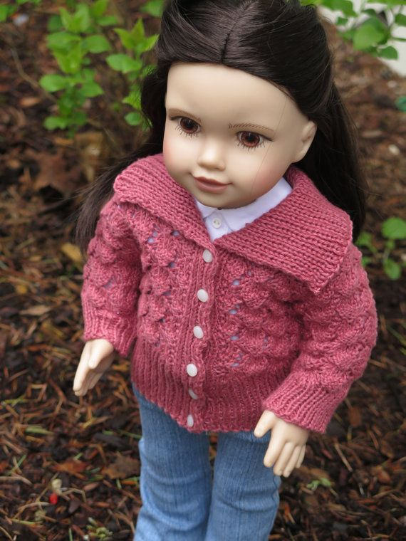 American Girl Doll Clothes Lace Cardigan - Pink 18 Inch Doll Sweater ...