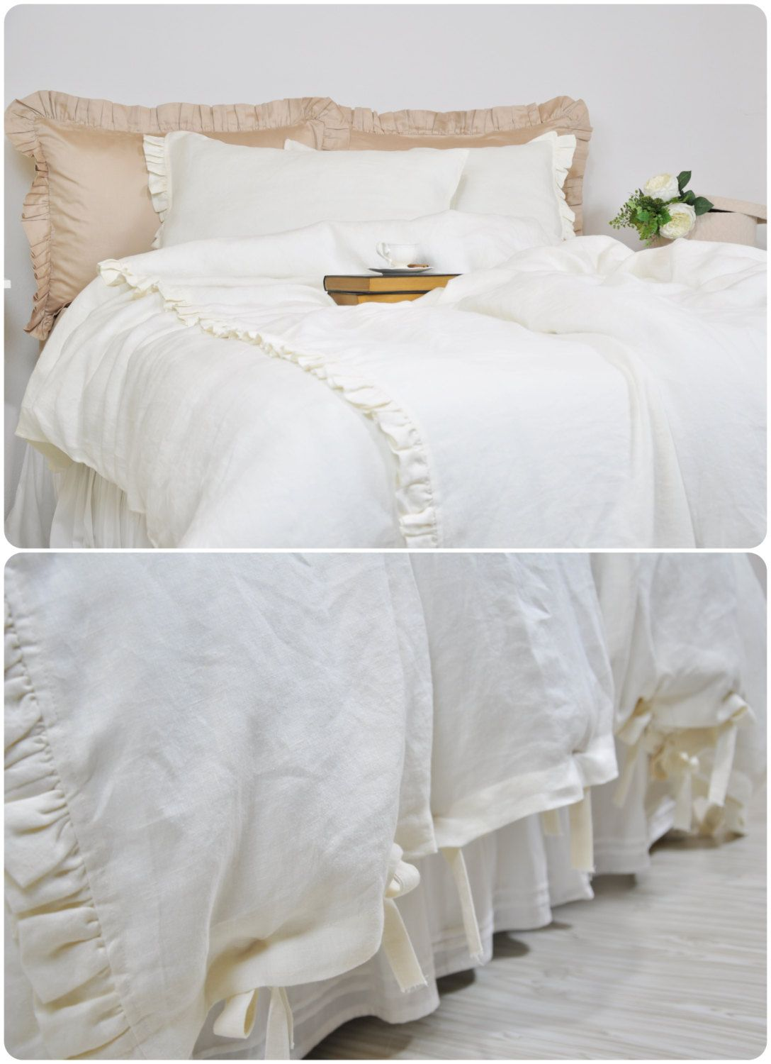and xl comfortable twin cover bedding cream yellow sets sham queen euro ruffle set duvet white gray ruched comforter