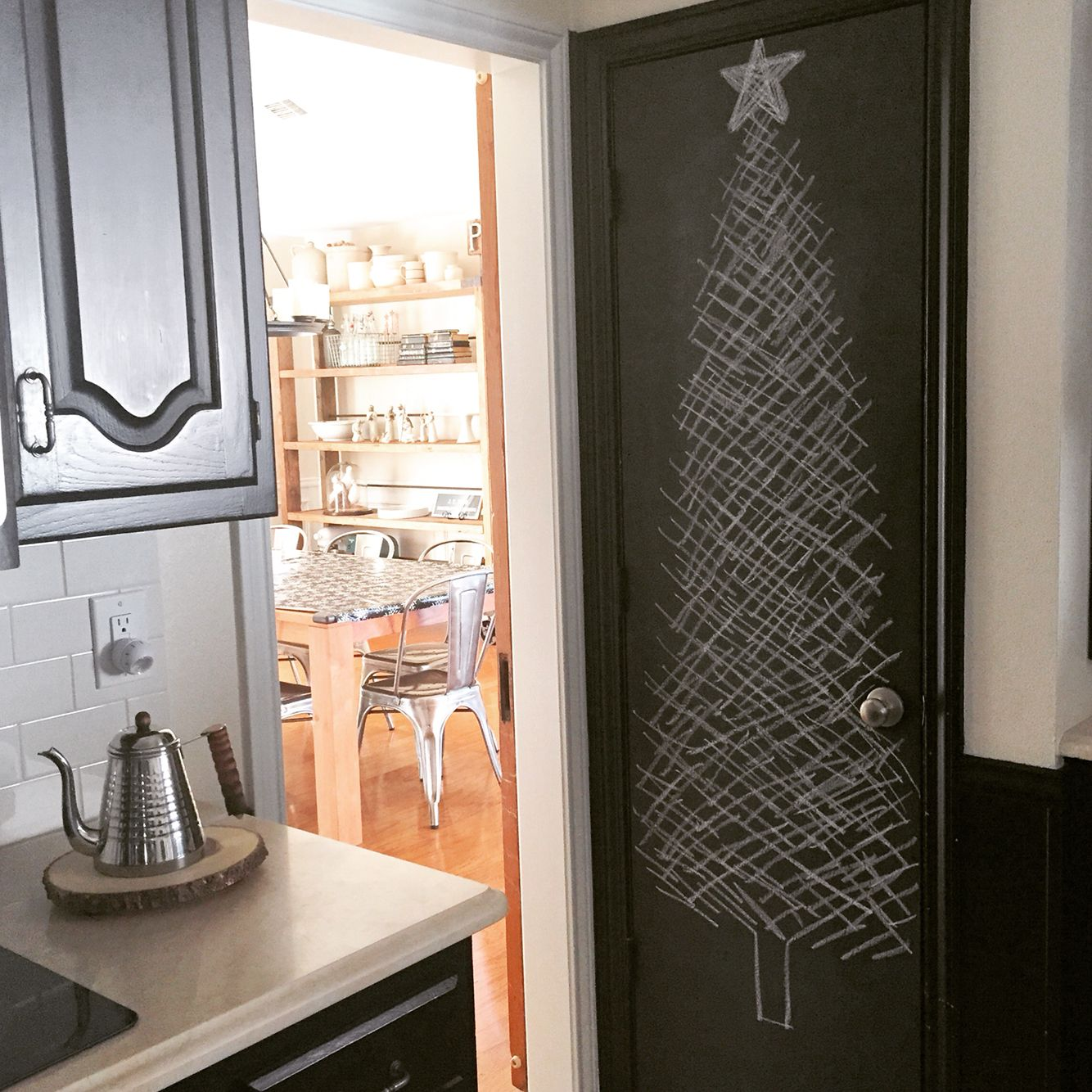 Alternative Christmas Tree on my chalkboard pantry door. #