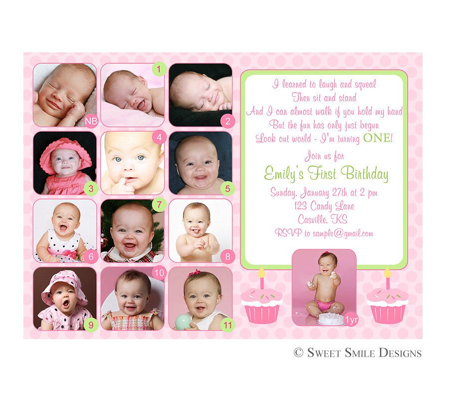 Photo 1st Birthday Invitation First Green Pink - 12 months picture ...