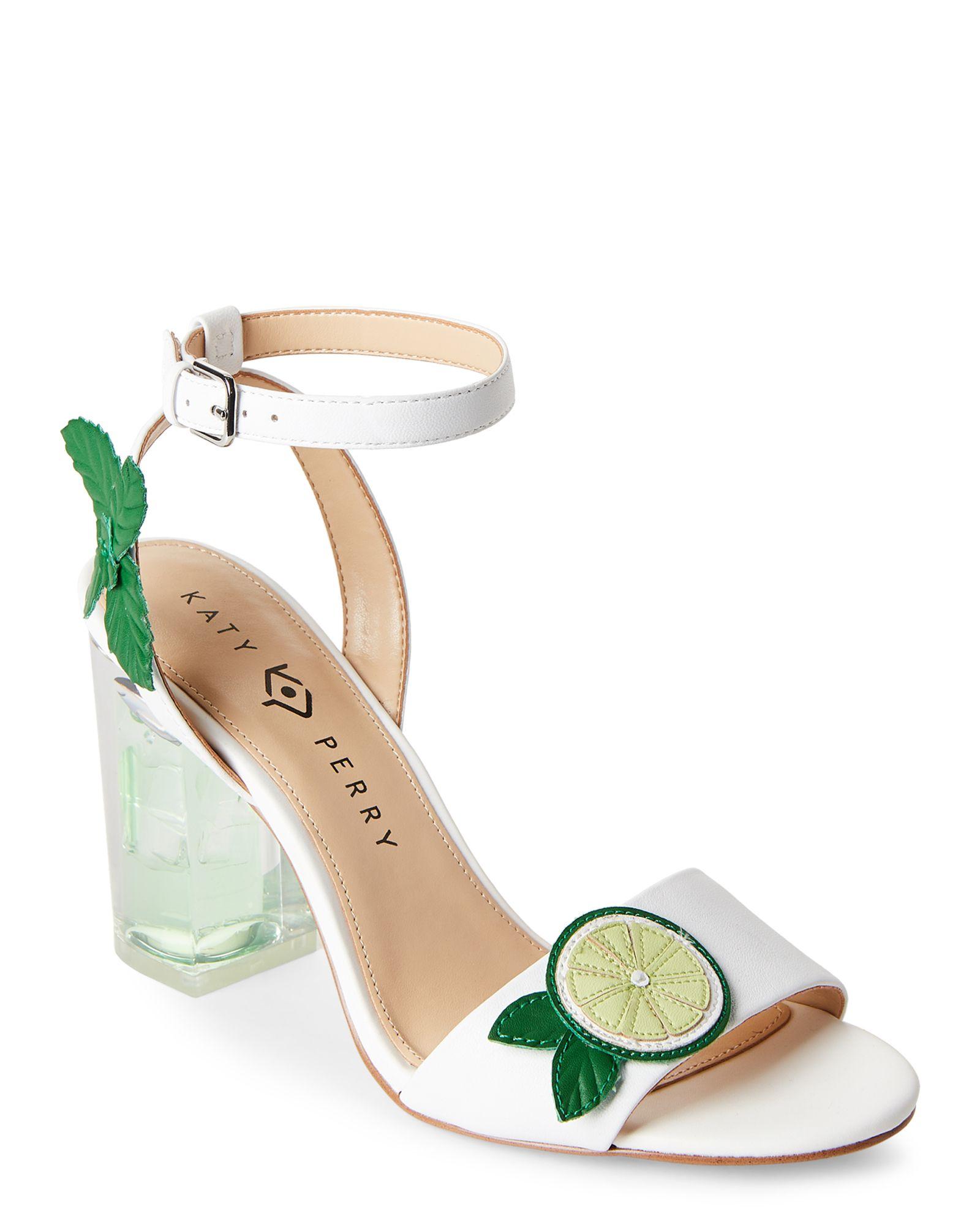 Lime Rita Appliquéd Block Heel Sandals