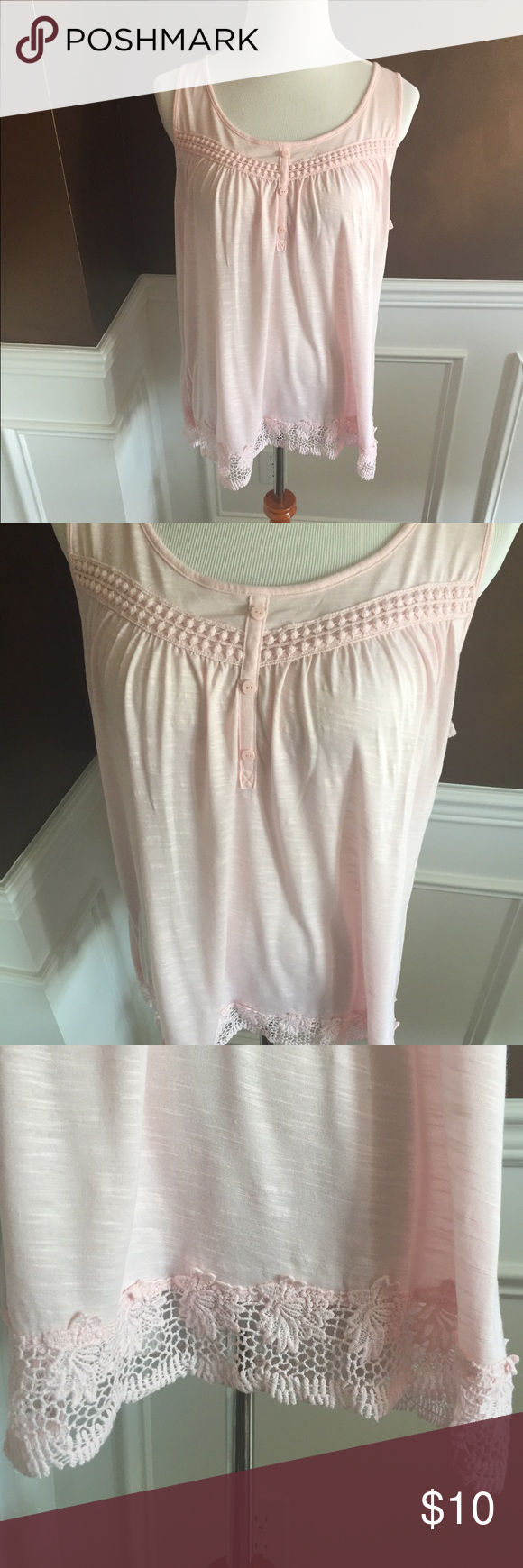 Cute Pink Tank Top with Lace Trim Cute top in excellent condition; Three buttons (do not actually unbutton); Color is light pink. Sonoma Tops Tank Tops