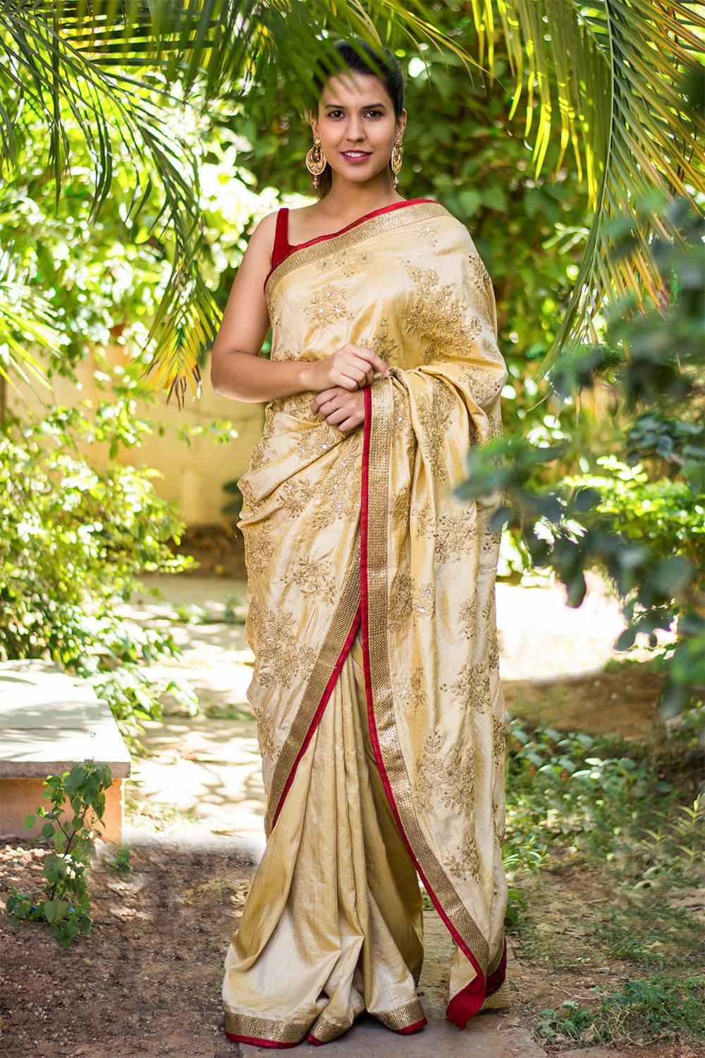 Half and half cream semi raw silk saree with zari embroidery + antique gold sequin and deep red reverse border #saree #houseofblouse #rawsilk #beige #gold #red #embroidery #sequin #reverseborder