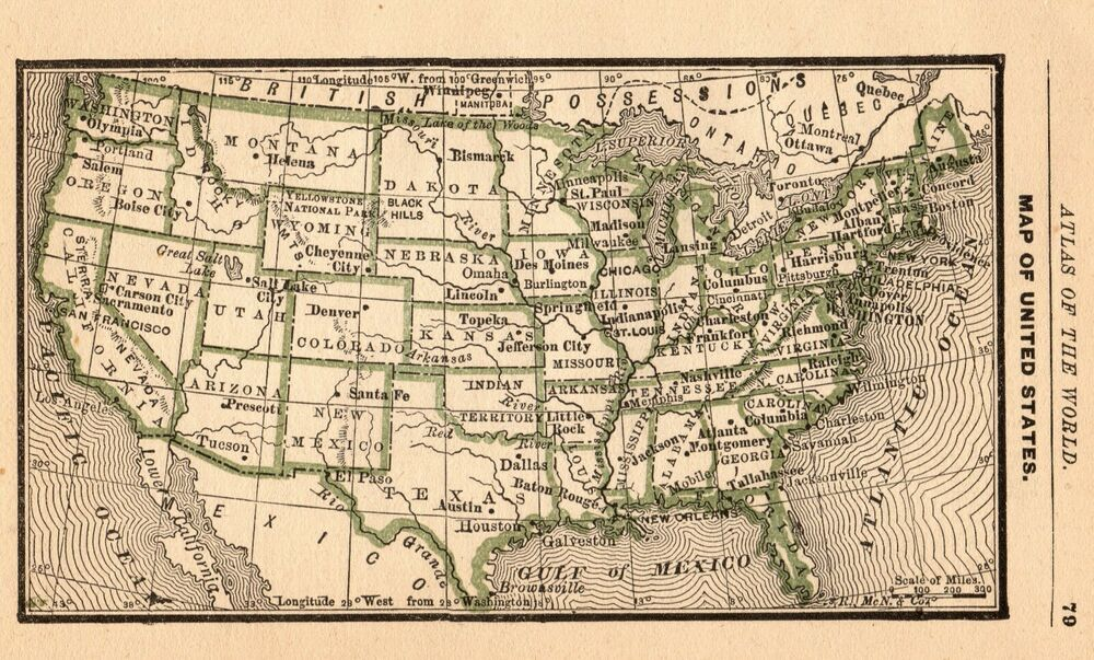 1888 Antique United States Map Rare Miniature Size Collectible Usa