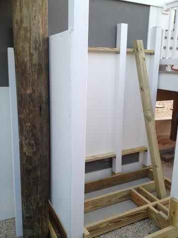 All the shower lumber is Pressure Treated and all fastening hardware is Stainless Steel.