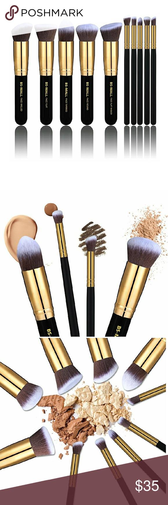 10 pcs. Black & Gold Synthetic Kabuki Brushes Makeup