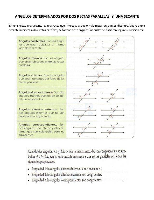 Angulos Determinados Por Dos Rectas Paralelas Y Una Secante En Una Recta Una Seca Matematica Ejercicios Actividades De Geometría Juegos Matematicos Secundaria