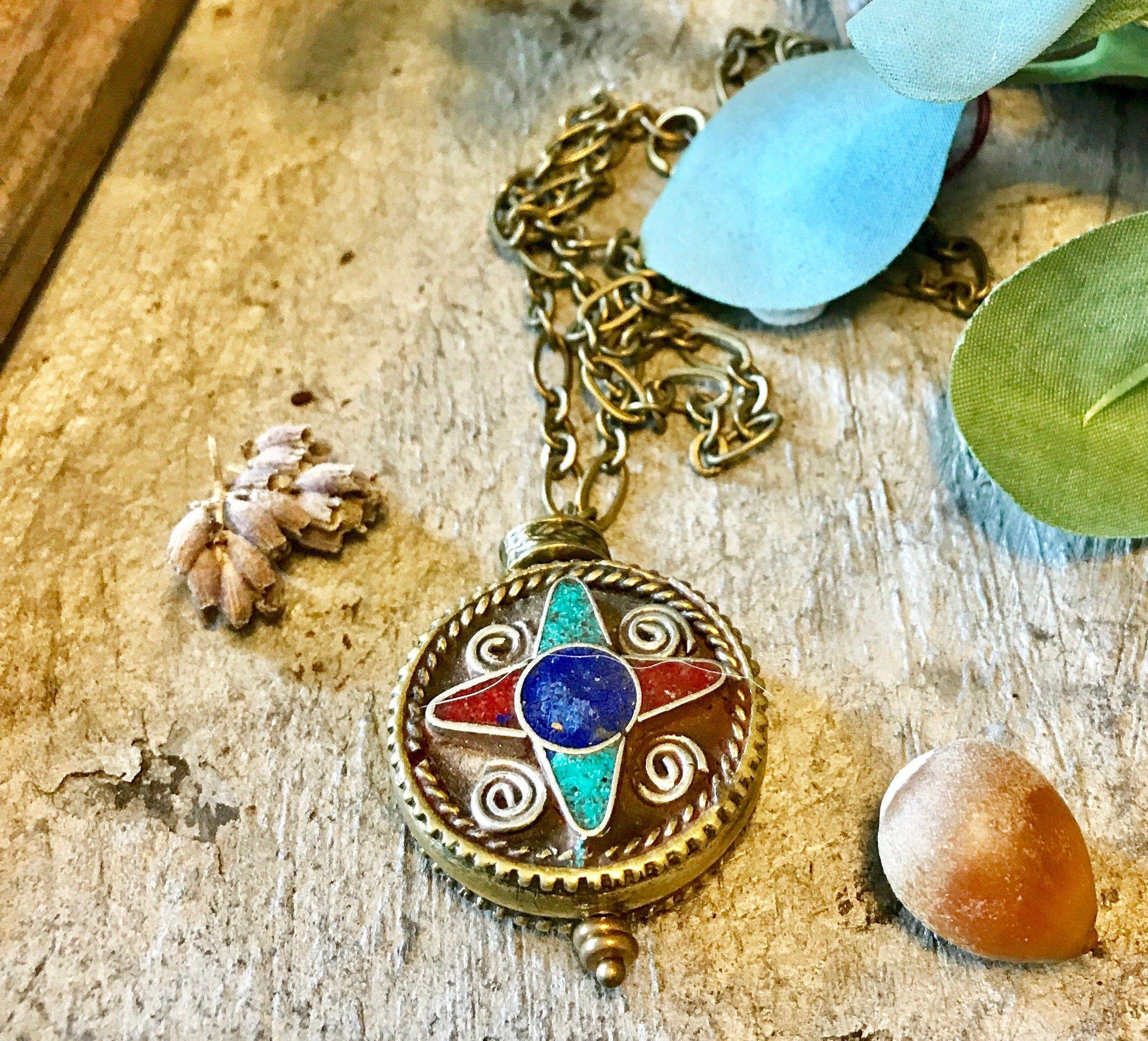Nepal Tibetan Pendant with Turquoise Lapis /& Coral Inlays  Handmade Tibetan Nepali Jewelry  Large Bohemian Pendant Ethnic Tribal Pendant