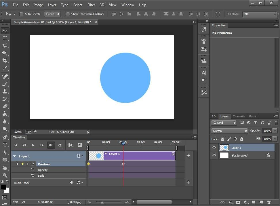 Moving the layer automatically adds a keyframe at the