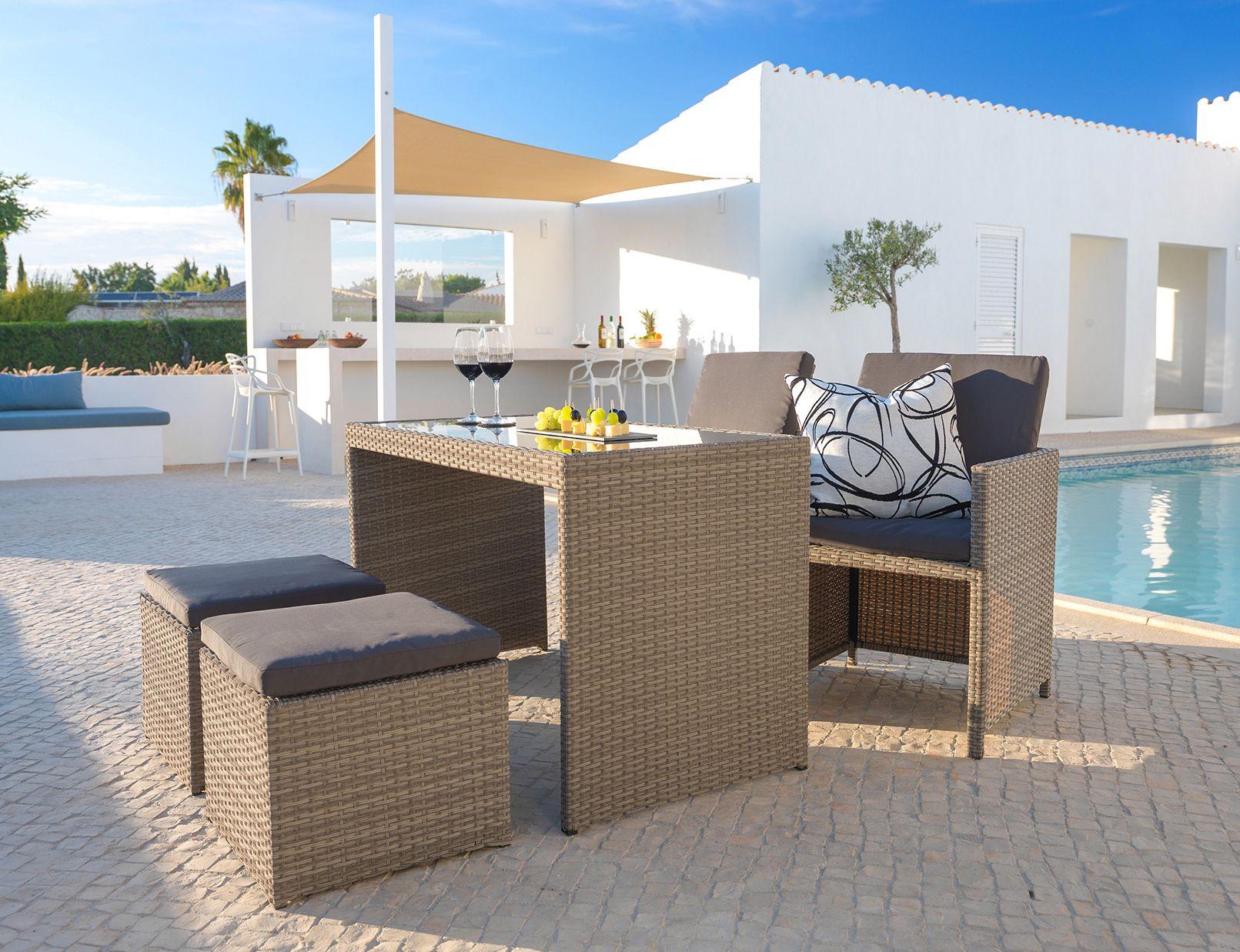 Garten Lounge aus Rattan für 4 Personen Gartenset