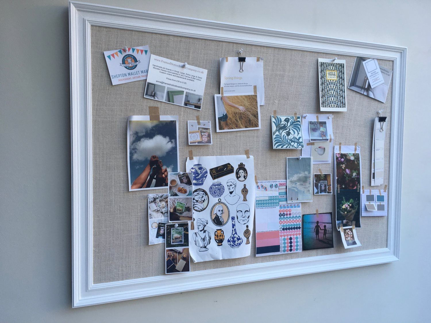 All White Giant Pin Board W Traditional Frame Hessian Framed