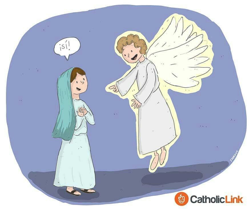 Hoy Celebramos La Anunciacion Del Senor Digamos El Angel Del Senor Anuncio A Maria Y Concibio Por Obra Y Gracia Del Espiritu Anjos Religiao Santo Rosario