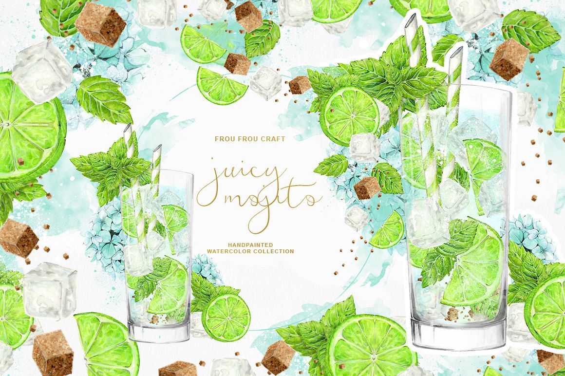 Drinks Clipart Party Cocktail Holiday Citrus Lime Fruits Mojito Mint ...