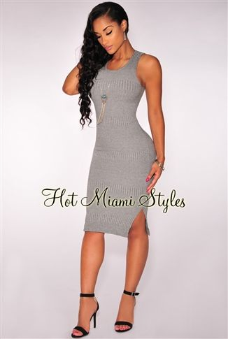 Gray Knit Ribbed Dress Womens clothing clothes hot miami styles  hotmiamistyles hotmiamistyles.com sexy club wear evening clubwear cocktail  party kim ... 310dd6e19f