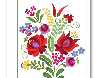 Hungarian Folk Design Greeting Card BP13 | Folk art ...