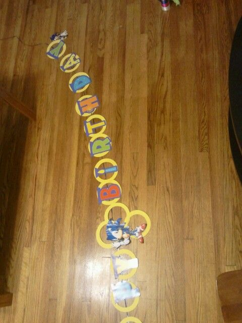 Sonic The Hedgehog Diy Birthday Banner I Used Pre Made Letters From A Dollar Store Banner And Embellished It W Sonic Birthday Sonic Party Diy Birthday Banner